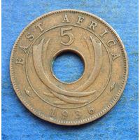 Восточная Африка Британская колония 5 центов 1936 Эдуард VIII