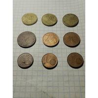 Евро центы 9 шт.,одним лотом.Старт с 2-х рублей без м.ц.Смотрите другие лоты,много интересного.