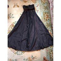 Платье в пол солнце 44 Zara цвет черный шоколад очень красивое