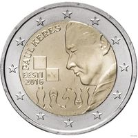 2 евро 2016 Эстония 100 лет со дня рождения Пауля Кереса UNC из ролла