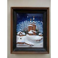 """Картина """"Зима"""",  фаянс, цветная глазурь, роспись Нуднов М.120 ммх150 мм, 1997 г., с автографом автора"""