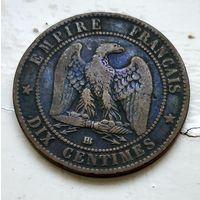 Франция 10 сантимов, 1864 BB - Страсбург 2-5-2