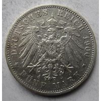 Германия, Пруссия, 5 марок, 1900, серебро