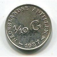 НИДЕРЛАНДСКИЕ АНТИЛЫ - 1/10 ГУЛЬДЕНА 1957