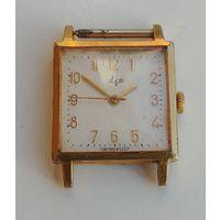 Позолоченые часы Луч СССР, костюмные, квадратные,  Au 20, на ходу