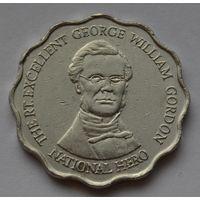 Ямайка 10 долларов, 2005 г. (Форма-круг с волнообразным краем).