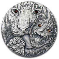 "RARE Ниуэ 1 доллар 2013г. ""Семья дикой природы. Тигрица"". Монета в капсуле; подарочном футляре; сертификат; коробка. СЕРЕБРО 31,135гр.(1 oz)."