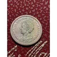 10 центов Нидерланды 1917 года. Серебро (проба 0,640). Монета не чищена.