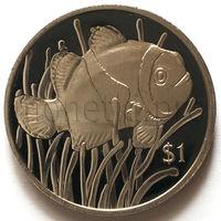 Британские Виргинские Острова 1 доллар 2018 года. Рыба-клоун