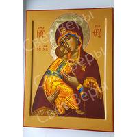 Большая Рукописная икона Владимирской Божией Матери 30х40 см.