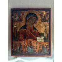 Икона БМ Боголюбская, житийными клеймами по серебру