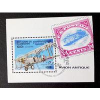 Камбоджа 1996 г. Самолеты. Авиация. Блок #0076-Т1P18