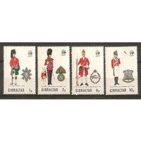 Гибралтар 1971 Военная форма Знаки Гербы Серия 4 м. MNH
