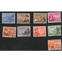 Норвегия гашеная неполная серия, но с концевой, маркой 300 лет почты Норвегии 1947 год
