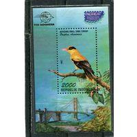 Индонезия. Птицы. Китайская черноголовая иволга. Блок филвыставки