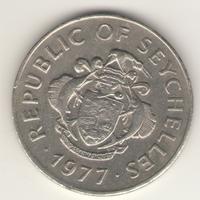 1 рупия 1977 г.