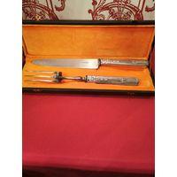 Нож Вилка Набор для мяса барбику серебро европа