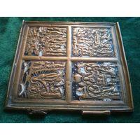 Складень створка икона образок бронза латунь эмаль 10.5 * 10 см.