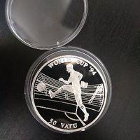 50 вату 1994 г Вануату Футбольный ЧМ 31,47 гр 0.925 серебра