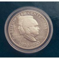 США 1 доллар 1990Р. 100 лет Эйзенхауэру. С рубля