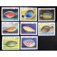 Вьетнам 1982 г. Рыбы. Камбала. Морская Фауна. полная серия из 8 марок #0229-Ф1P52