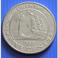 Либерия. 5 центов  1968 год  KM#14  Редкий год!!!
