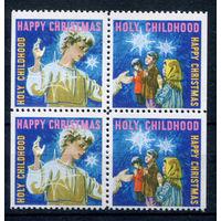 США, непочтовые марки - Рождество, Новый Год - 4 марки - сцепка - MNH (Лот 123И). Без МЦ!