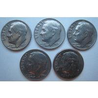 США 10 центов 1972, 1974, 1977, 1980 P, 2007 P гг. Цена за 1 шт.