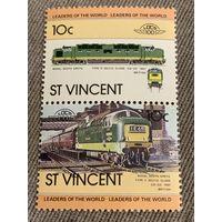 Сеет-Винсент. Локомотив Royal Scots Greys 1961. Марка из серии