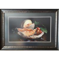 Картина ,,Дыня и персики,,ручная работа, вышивка.