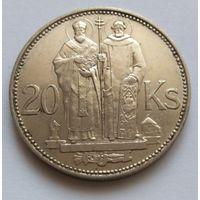 """Словакия, 20 крон 1941 год, """"Святые Кирилл и Мефодий"""""""