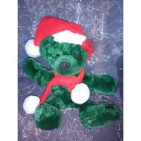 Винтажный зелёный медвежонок с красным ухом.Редкий!
