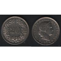 Швейцария km29a 20 раппен 1974 год (-) (f20)*