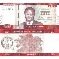 Либерия 50 долларов 2017 год UNC