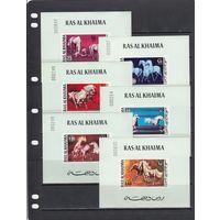 Лошади Кони Домашние животные Фауна 1972 Ras al Khaima Рас эль Хайма MNH  полная серия 6 Люкс Блоков ЛОТ РАСПРОДАЖА