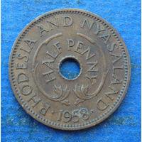 Родезия и Ньясаленд Британская колония 1/2 пенни 1958