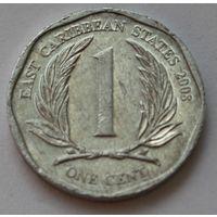 Восточные Карибы 1 цент, 2008 г.