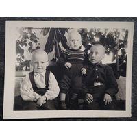Три белорусских мальчика. Коссово. Фото 1950-х. 9х12 см.