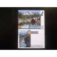 Словения 1999 Европа с купоном нац. парк триглав Mi-3,0 евро гаш.