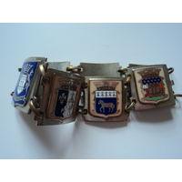 Крупный гербовый  французский браслет.  Сер 20 в. Качественные геральдические  эмали по серебру.. Звено-2х2 см.