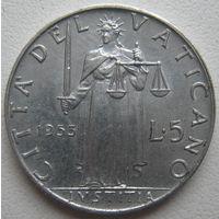 Ватикан 5 лир 1953 г. (d)