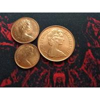 Пол пенни,1 пенни, 2 пенса 1983 года Великобритании 30 лет правления Елизаветы II (3 монеты) 33