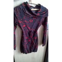 Туника - платье чёрно - красное p-p 44-48, рост 160 - 165
