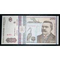 РАСПРОДАЖА С 1 РУБЛЯ!!! Румыния 200 лей 1992 год UNC