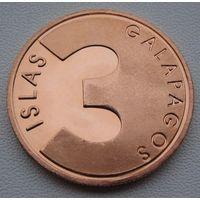 """Галапагосские острова. 3 песо 2008 год """"Чайка"""" Unusual"""