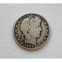 США, 1/2 доллара 1908  Barber Half Dollar