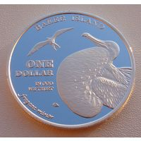 "Остров Бэйкер.  1 доллар 2015 год  ""Большой фрегат - Птицы"""