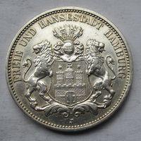 Германия, Гамбург, 3 марки, 1911, серебро