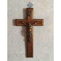 Крест Распятие дерево Бронза? Европа