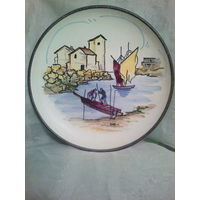Винтажная настенная тарелка STEULER Германия 50-е г.,Handgemalt, ручная роспись. Керамика.